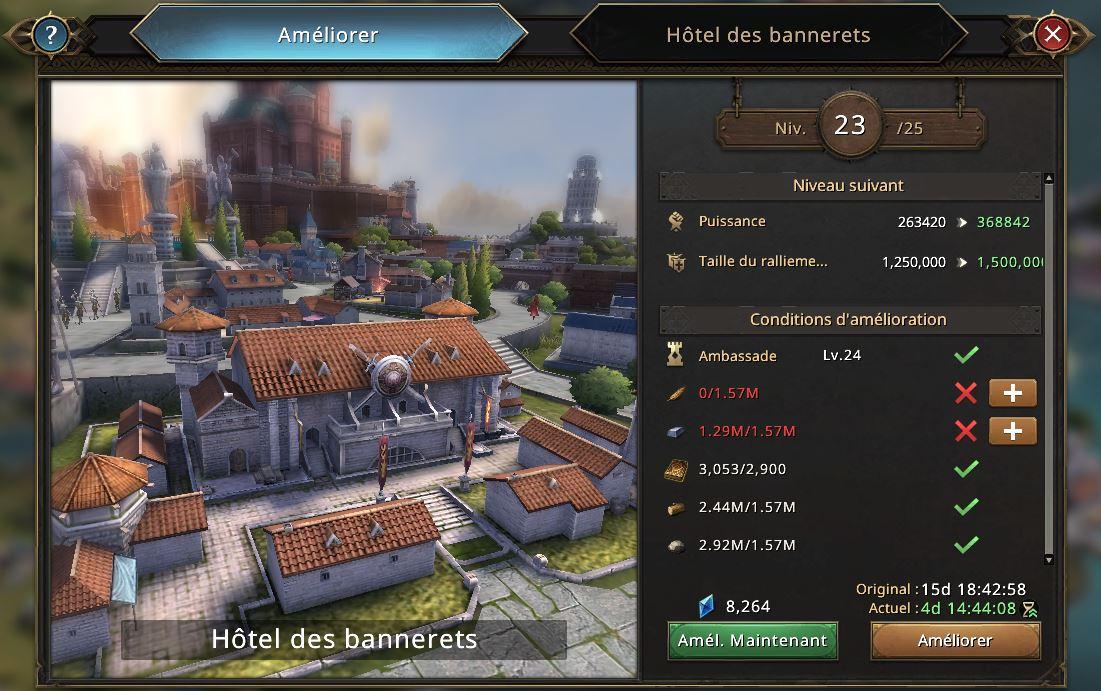 Evolution de l'hôtel des bannerets vers le niveau 24