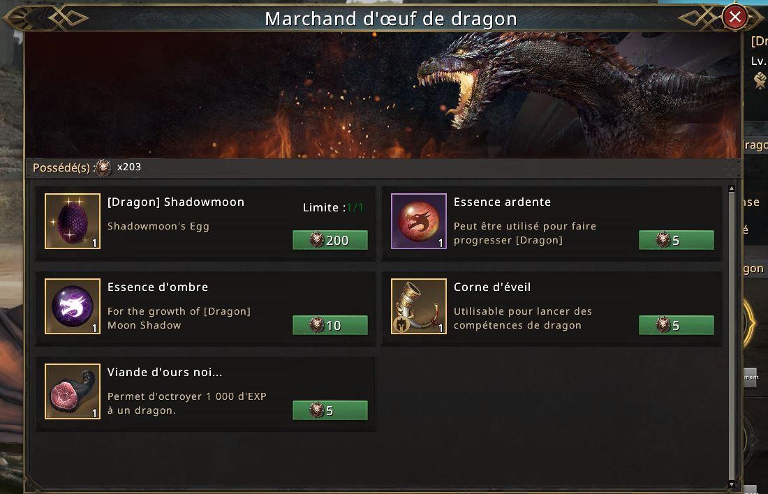 Boutique marchand oeufs de dragon