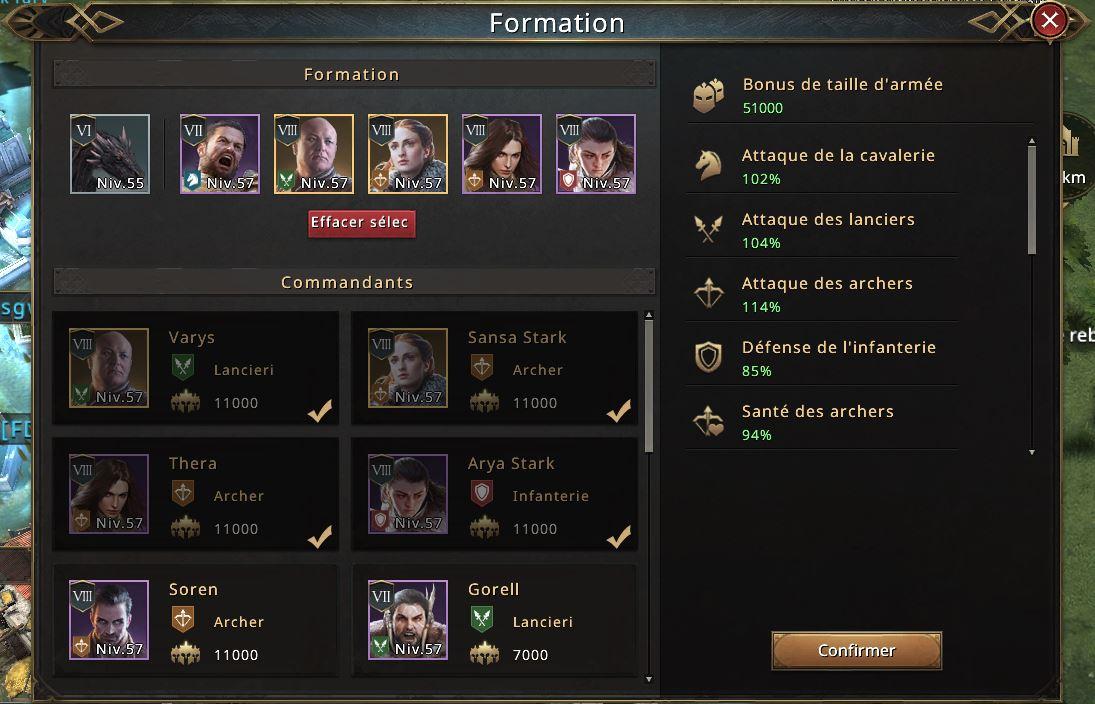 Choix des commandants