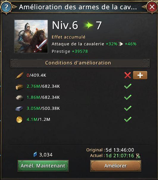 Recherche amélioration des armes des cavaliers vers le niveau 7