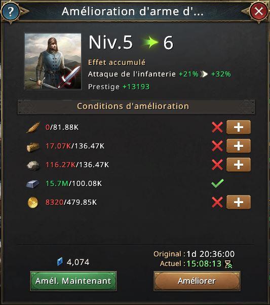 Recherche amélioration d'arme d'infanterie vers 6