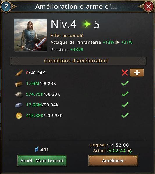 Amélioration d'arme d'infanterie