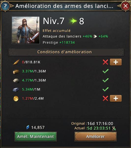 Amélioration des armes des lanciers vers niveau 8