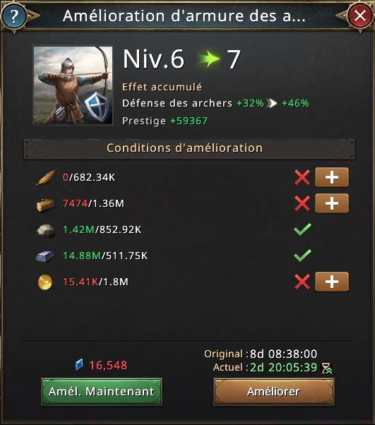 Amélioration d'armure des archers vers le niveau 7