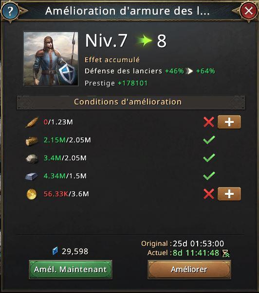 Amélioration d'armure des lanciers vers niveau 8