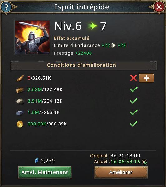 Recherche esprit intrépide vers niveau 7