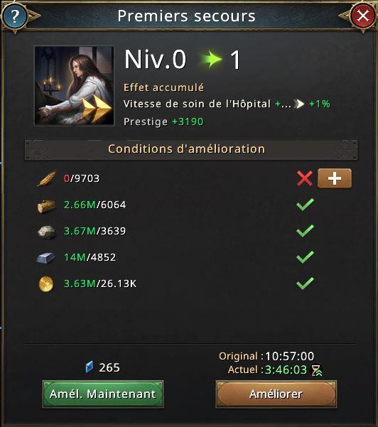 Recherche premiers secours vers niveau 1