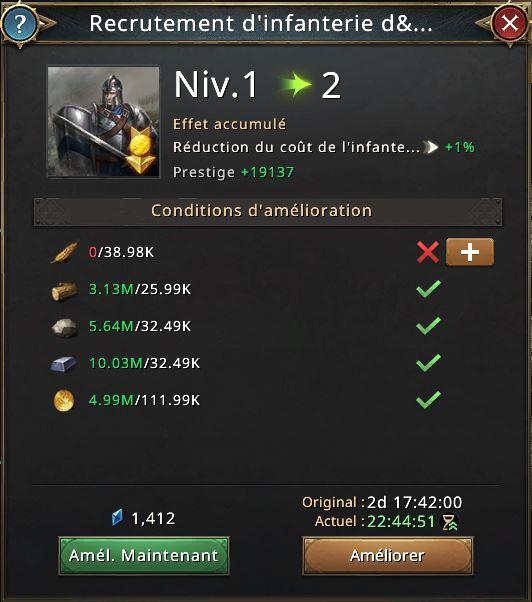 Recherche recrutement infanterie élite vers niveau 2