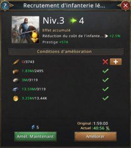 Recrutement d'infanterie légère vers 4
