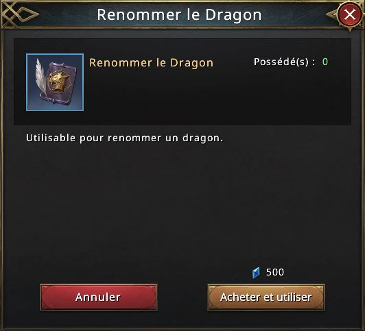 Renommer le dragon