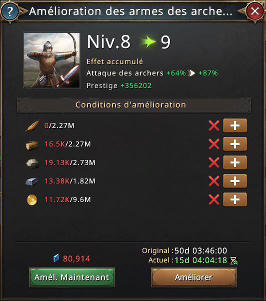 Recherche amélioration d'arme des archers vers 9