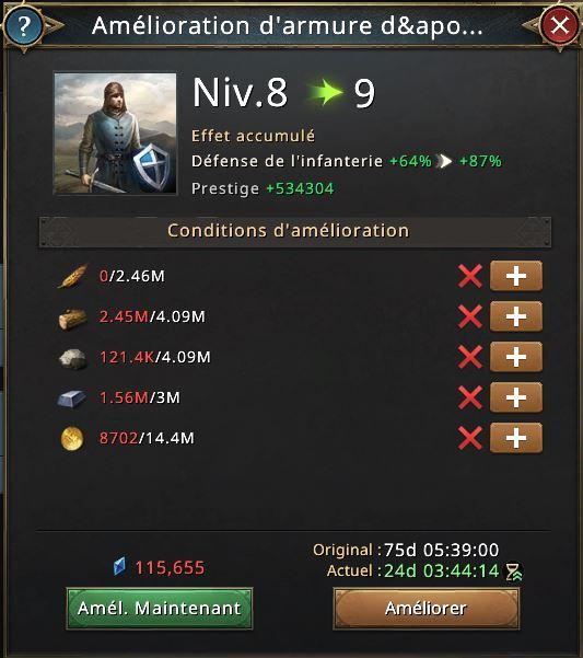 Recherche amélioration de l'armure de l'infanterie vers le niveau 9