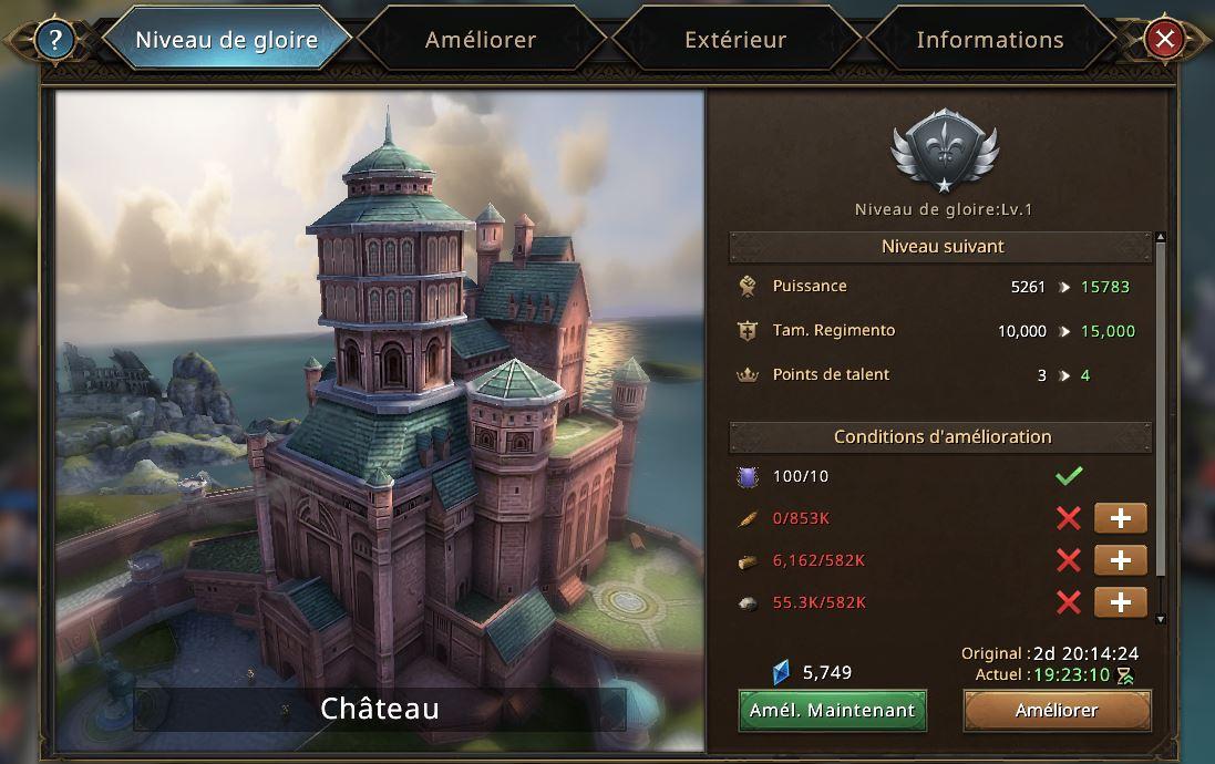 Evolution du château vers le niveau de gloire 2