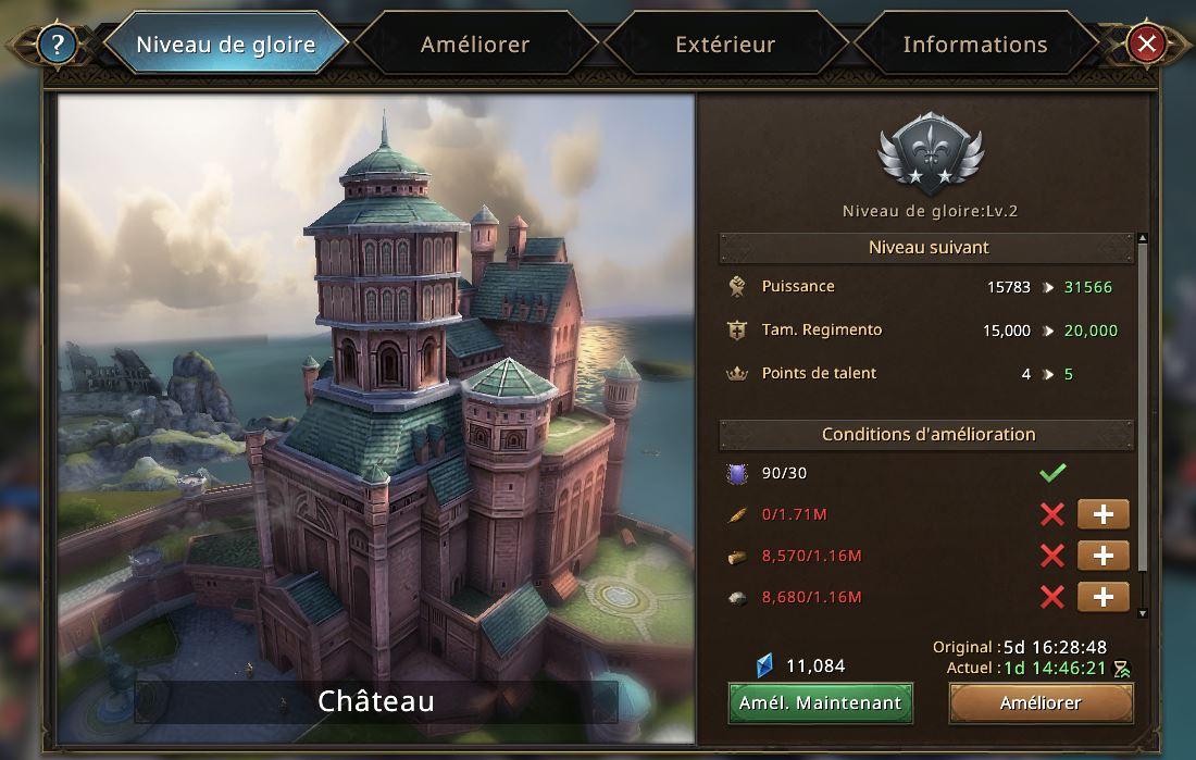 Evolution du château vers le niveau de gloire 3