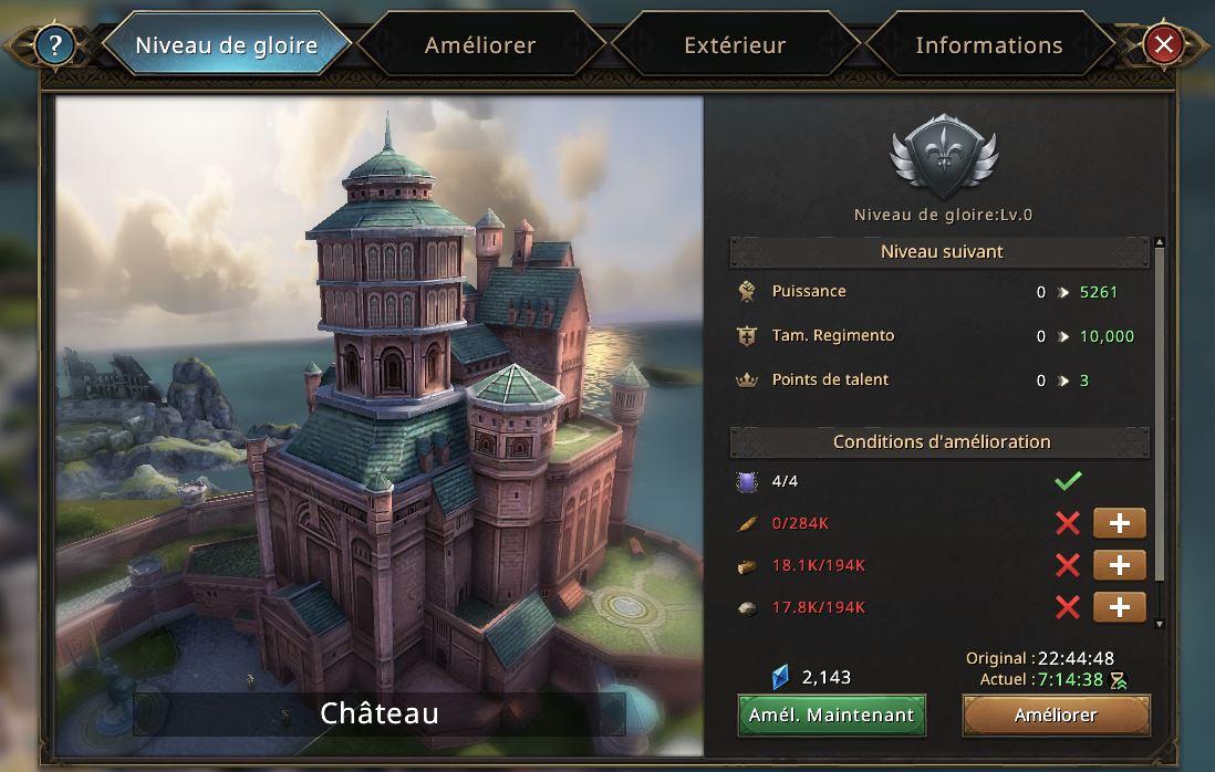 Niveau de gloire du château