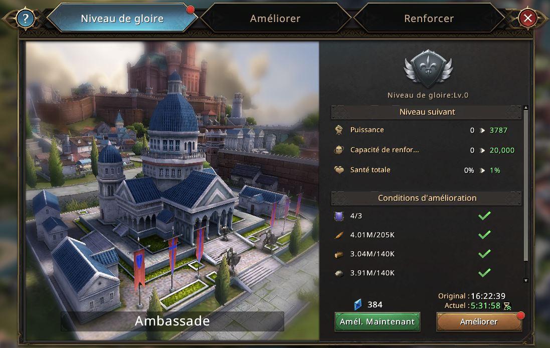 Evolution de l'Ambassade