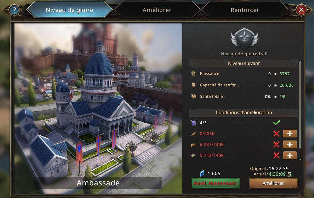 Evolution de l'ambassade vers le niveau de gloire 2
