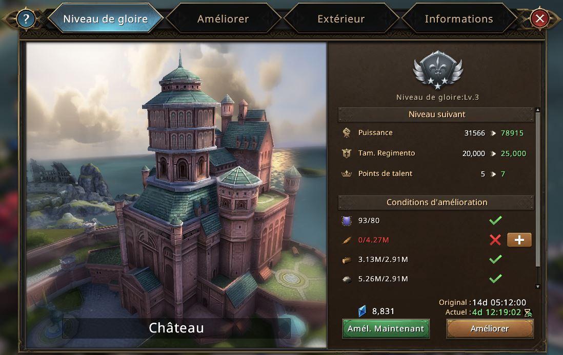 Evolutoin du château vers le niveau de gloire 4