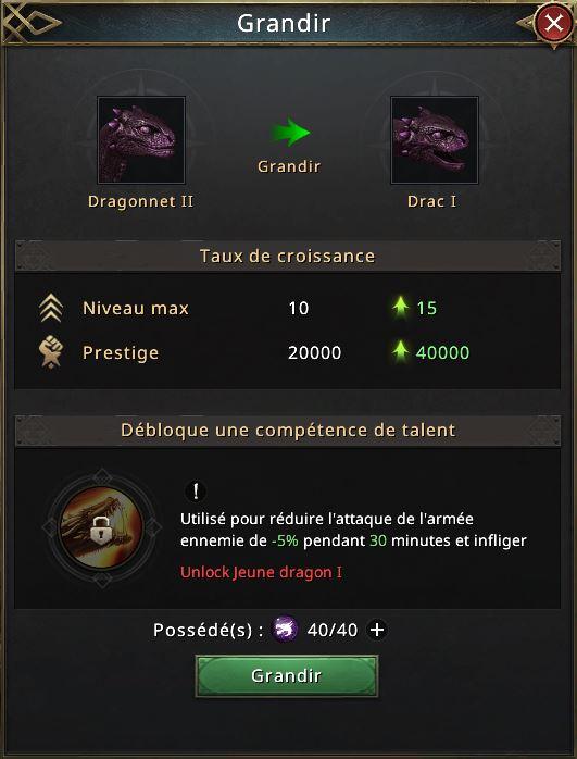 40 essences d'ombres pour évolution vers Drac 1
