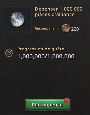 Quête mobilisation alliance dépenser 1 million pièces d'alliance