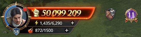 Lord nvieau 58 avec 50 099 209 points de prestige