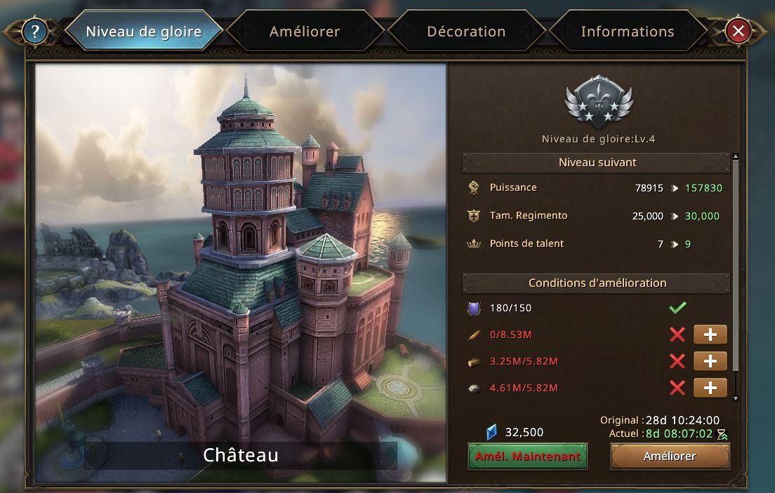Evolutoin du château vers le niveau de gloire 5