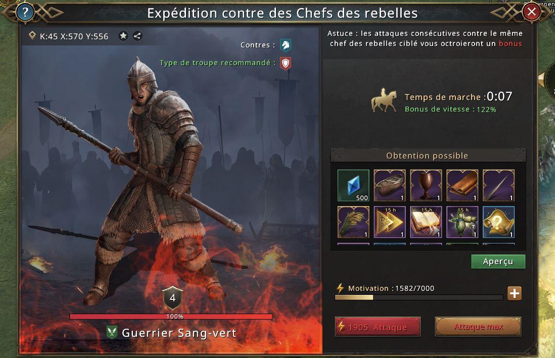 Chef rebelle Guerrier sang-vert