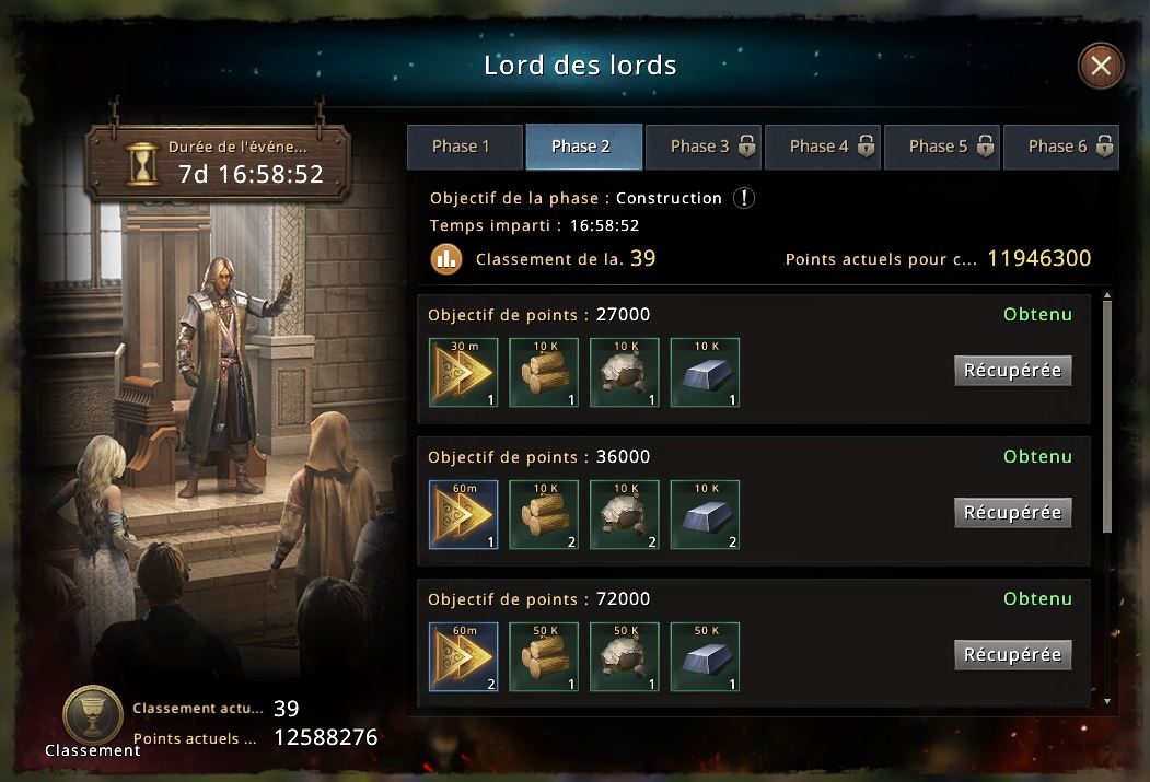 Classement Lord des Lords phase 2