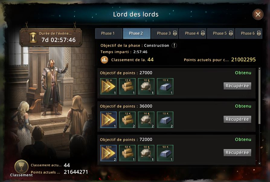 Classement du Lord des Lords phase 2