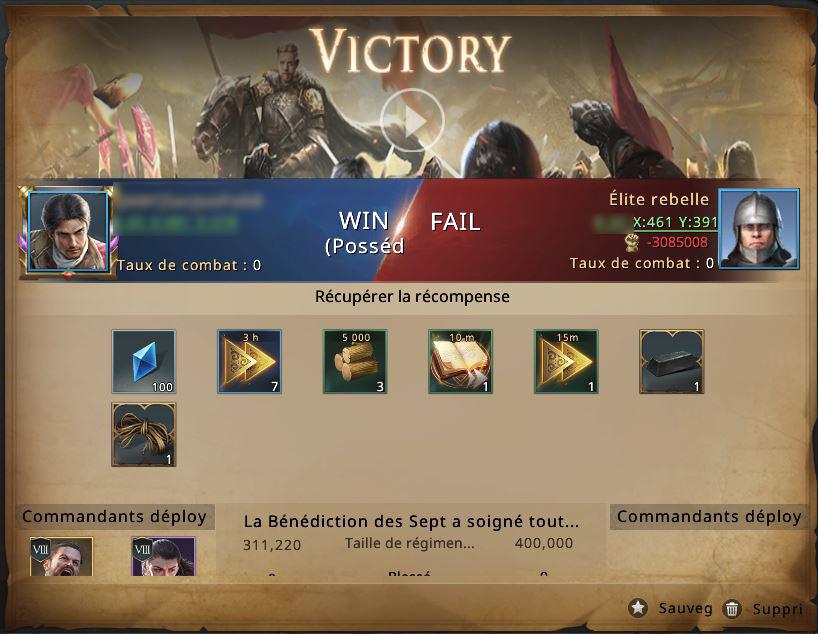 Victoire contre groupe rebelle niveau 21