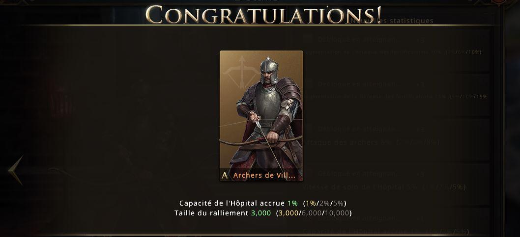 Apparence d'archers de villevieille niveau or