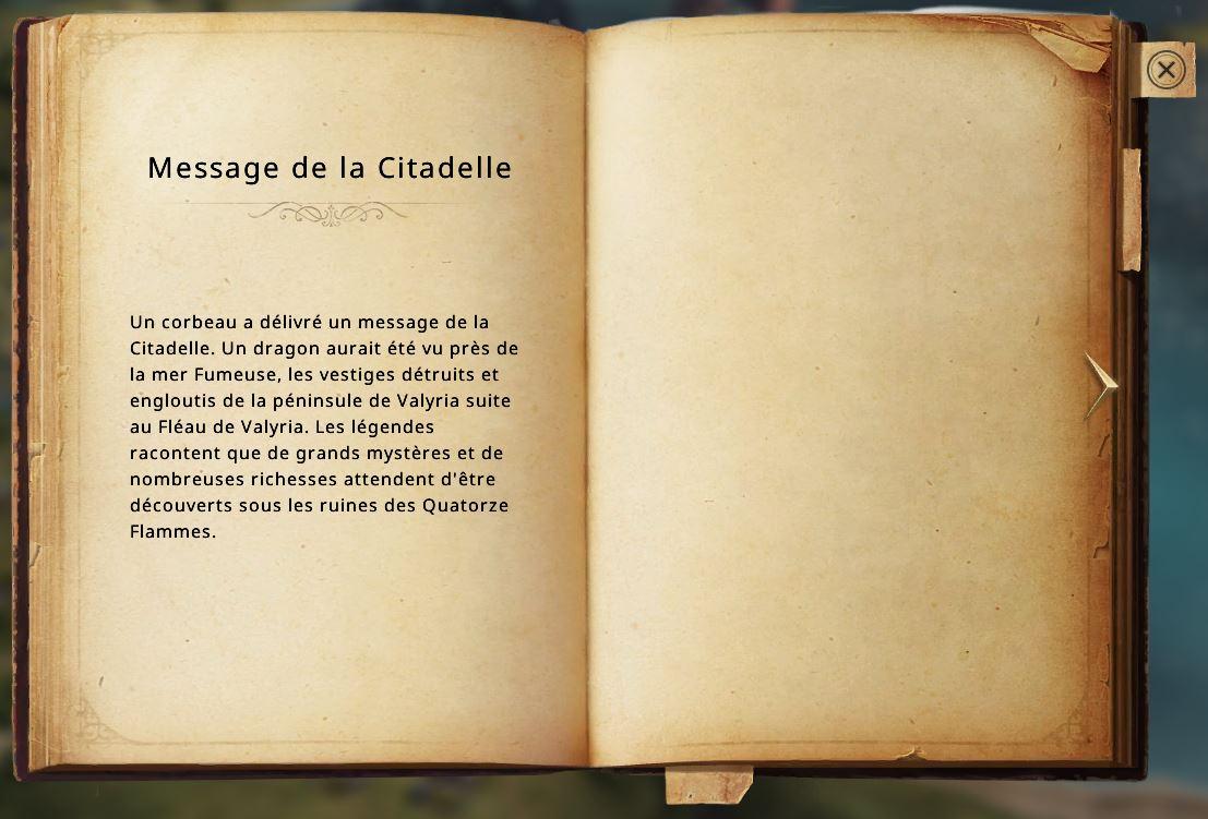 Message de la citadelle