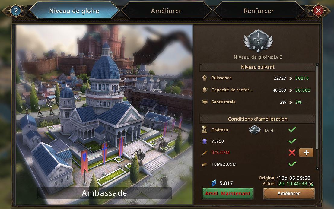 Evolution de l'ambassade vers le niveau de gloire 4