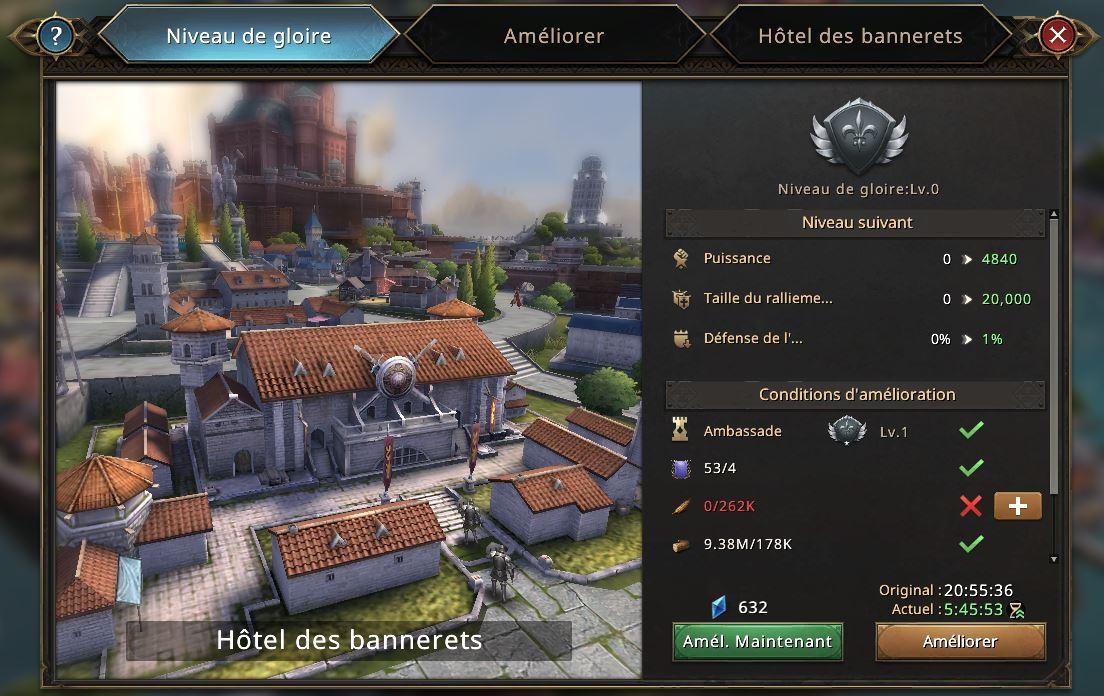 Evolution de l'hôtel des bannerets vers le niveau de gloire 1
