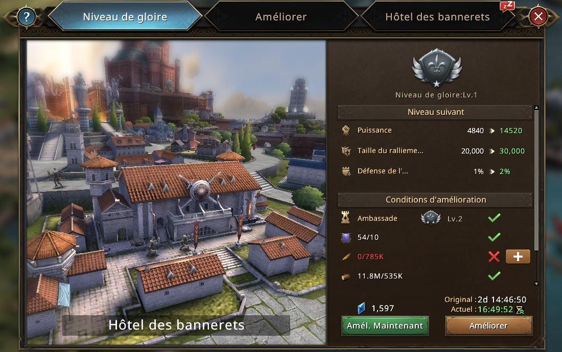 Evolution de l'hôtel des bannerets vers le niveau de gloire 2