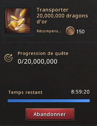 Quête transporter 20 millions de dragons d'or