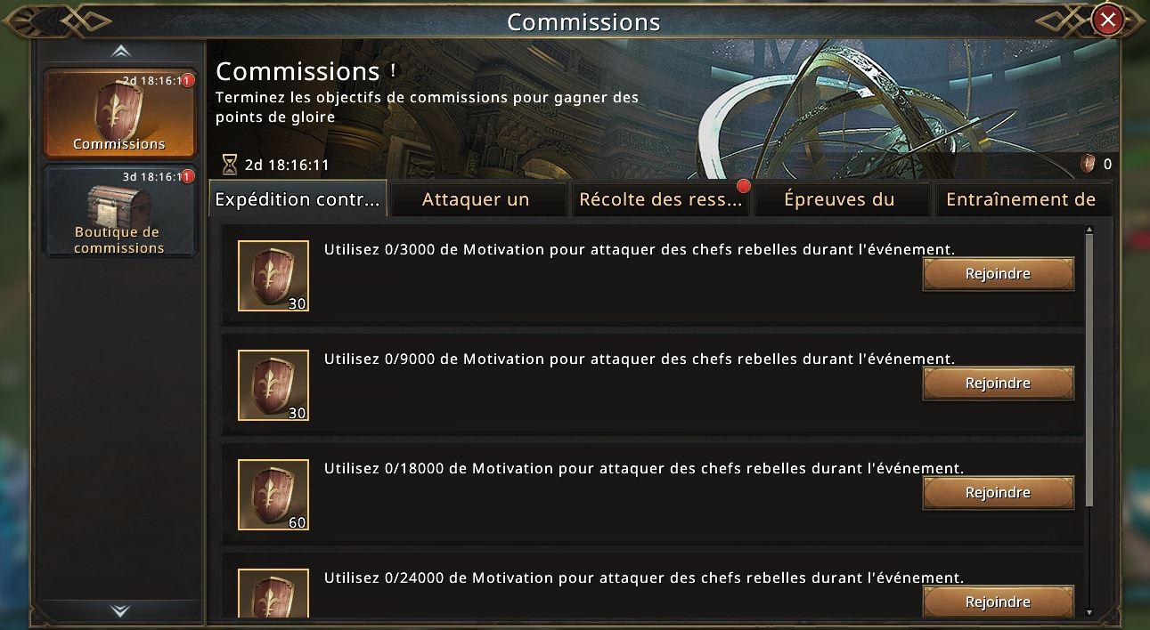 Commissions - Expédition contre les chefs rebelles