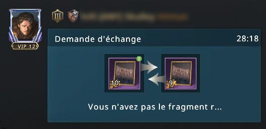 Demande d'échange