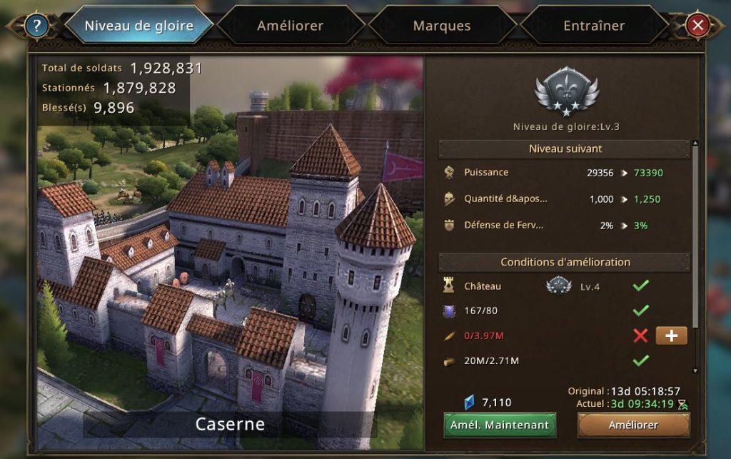 Evolution de la caserne vers le niveau de gloire 4