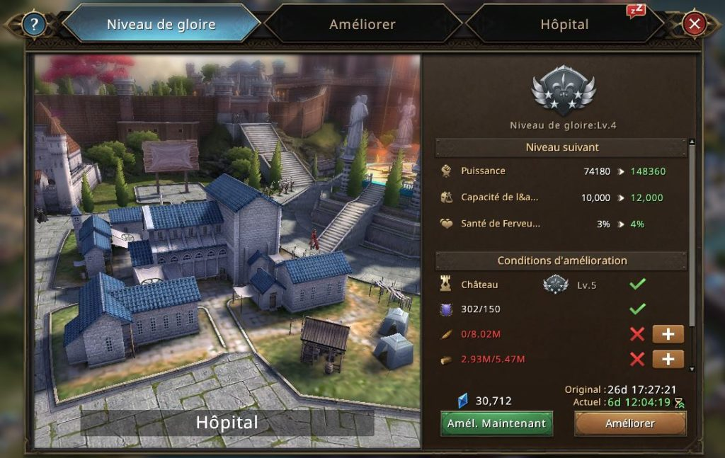 Evolution de l'hôpital vers le niveau de gloire 5