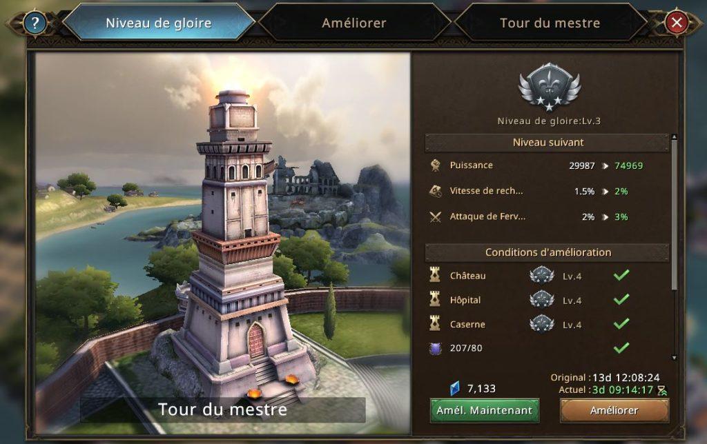 Evolution de la Tour de Mestre vers le niveau 4