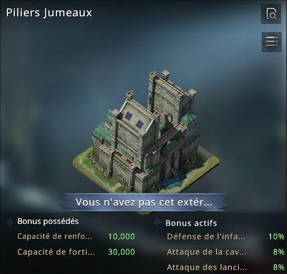 Extérieur de château piliers jumeaux