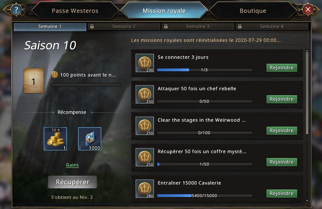 Missions de la première semaine