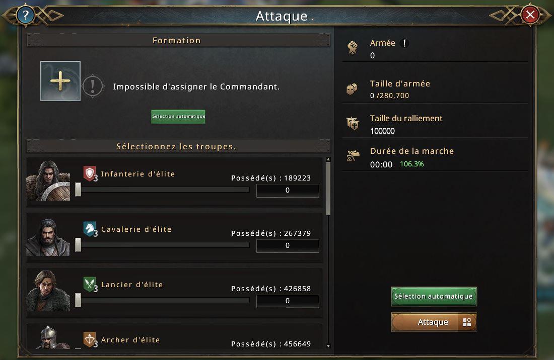 Apparence de troupes dans l'écran de sélection