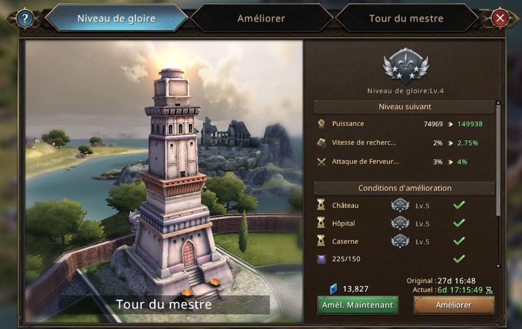 Evolution de la Tour de Mestre vers le niveau de gloire 5