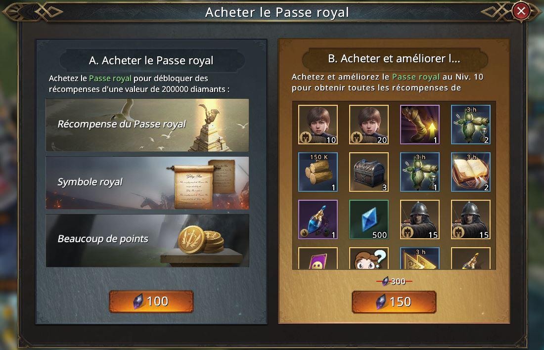 Récompenses du Passe Royal