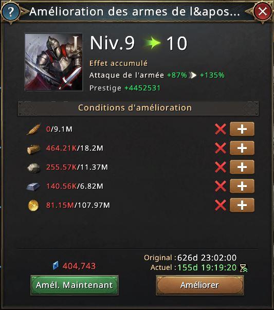 Recherche amélioration des armes de l'armée vers 10