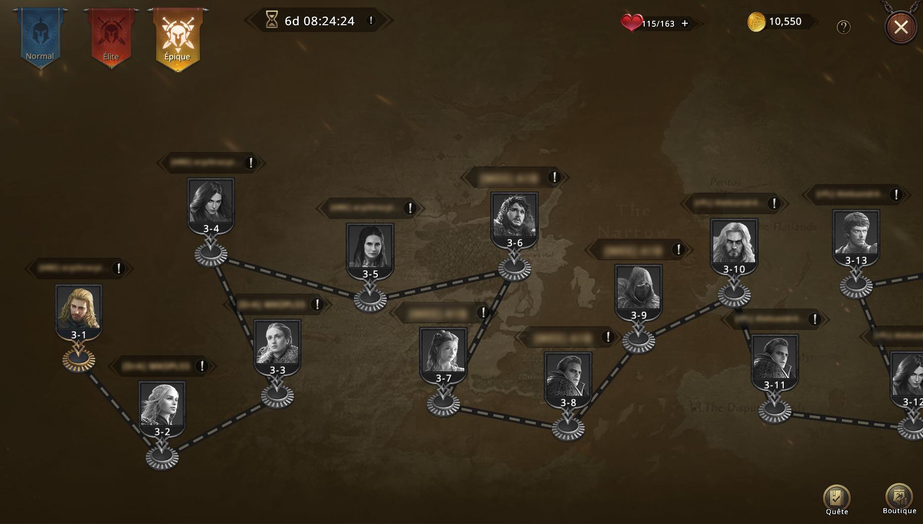 Map du niveau épique