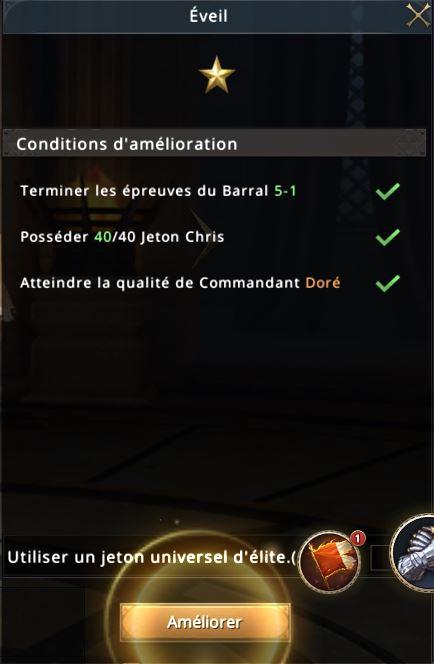 Conditions pour éveil du commandant