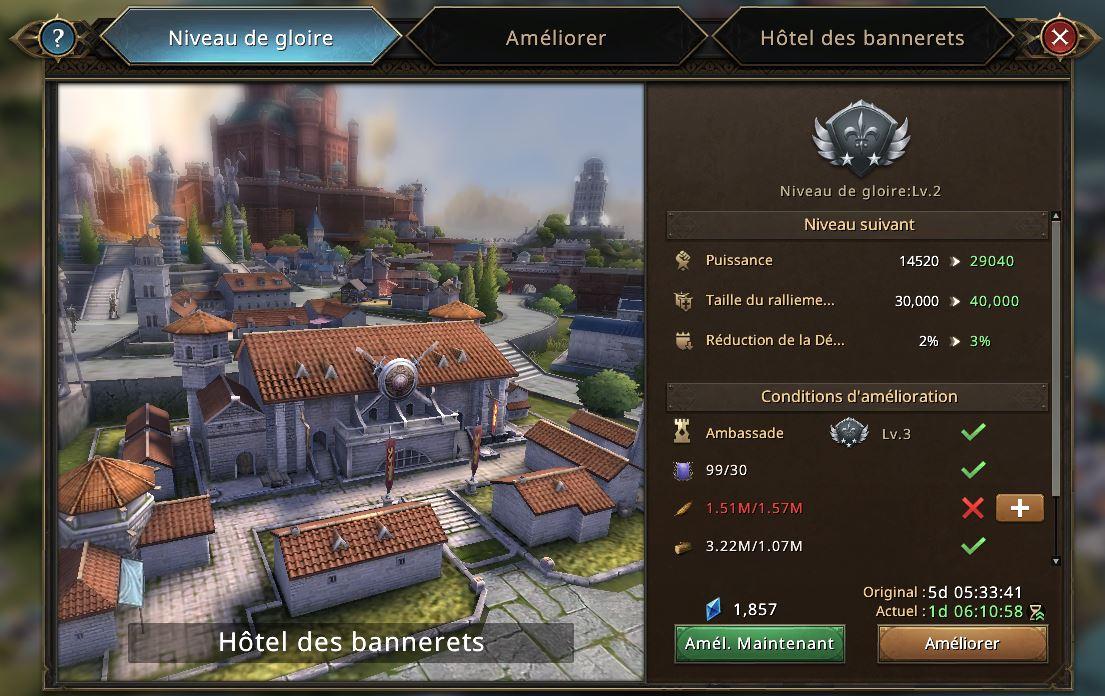 Evolution Hôtel des Bannerets vers le niveau de gloire 3